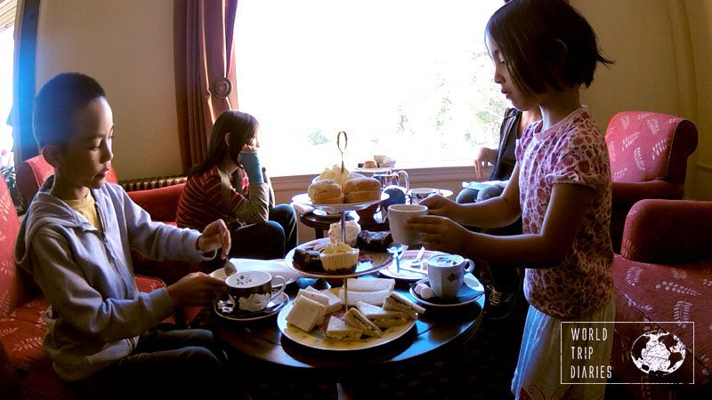 We went to have High Tea at Chateau Tongariro, NZ, with the kids. The high tea was a new experience, but having it inside a castle, that can't be beat!