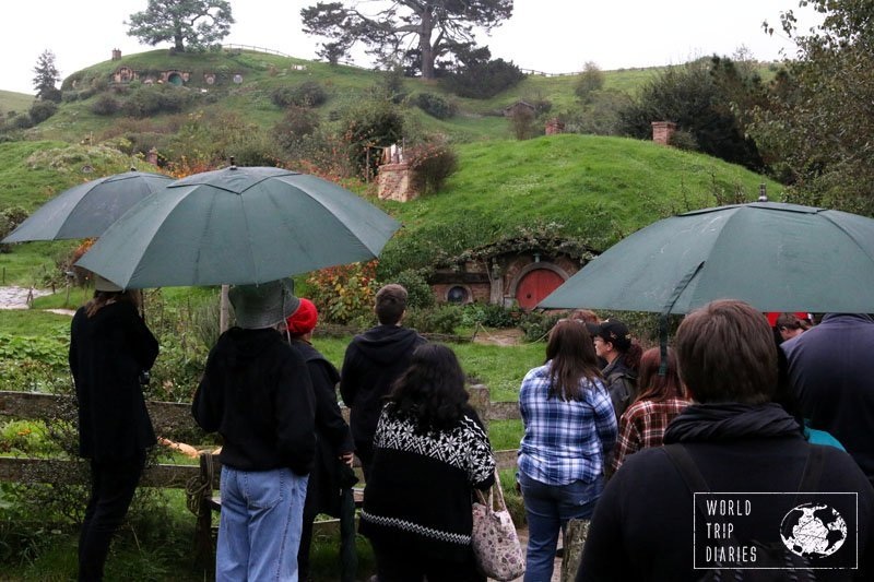 A part of the group at Hobbiton, NZ. We tried the dinner tour with our kids - click here to find out more!