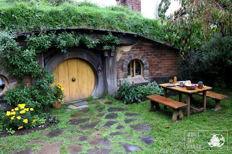 The prettiest house, with all the props in Hobbiton, NZ. It is a lot of fun for families.