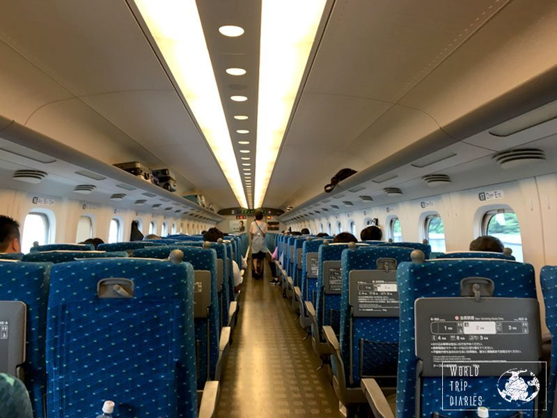 Take a look at the inside of the Nozomi bullet train, in Japan. Not different from an airplane, is it?