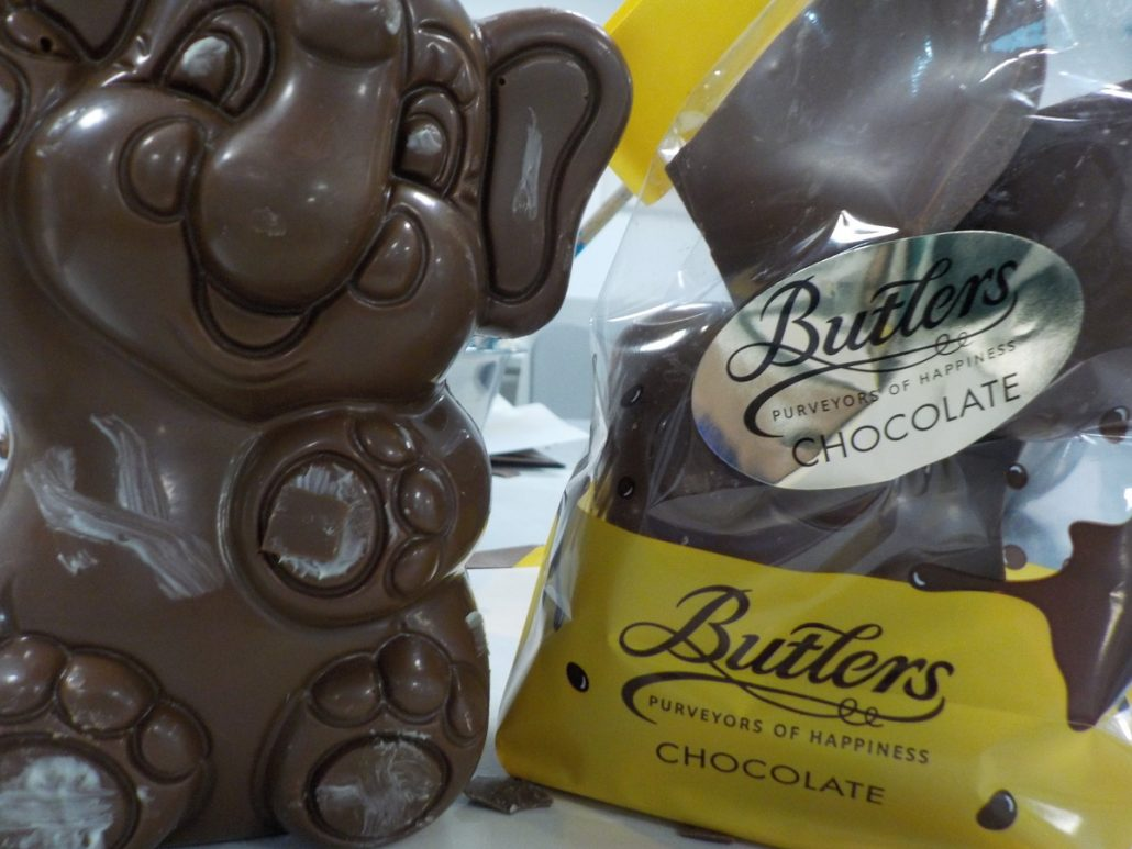 An elephant shaped chocolate from Blutlers Chocolate, in Dublin (Ireland)! A tour through the factory is a great day out for families!