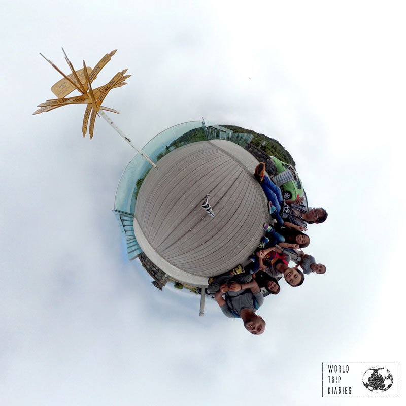 A tiny planet with Stirling Point (NZ) distance signs on the top and the 6 of us on the bottom. Click to know more about the cameras we take on our trips!