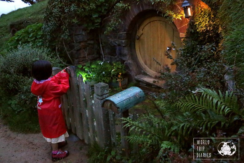 Kid#4 trying to enter one of the hobbit houses. We did the Evening Banquet Tour at Hobbiton with the kids. They loved it and so did we!