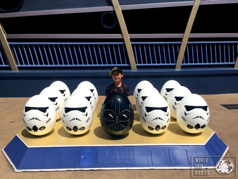 Hong Kong Disneyland's Easter Eggs: Star Wars edition. Two lines of Storm Trooper eggs to each side and a Darth Vader egg in the middle with my youngest behind him. She loved it.