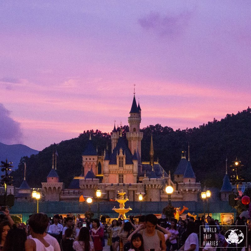 Disneyland Hong Kong's Sleeping Beauty's castle is stunning and worth the visit. We loved it!