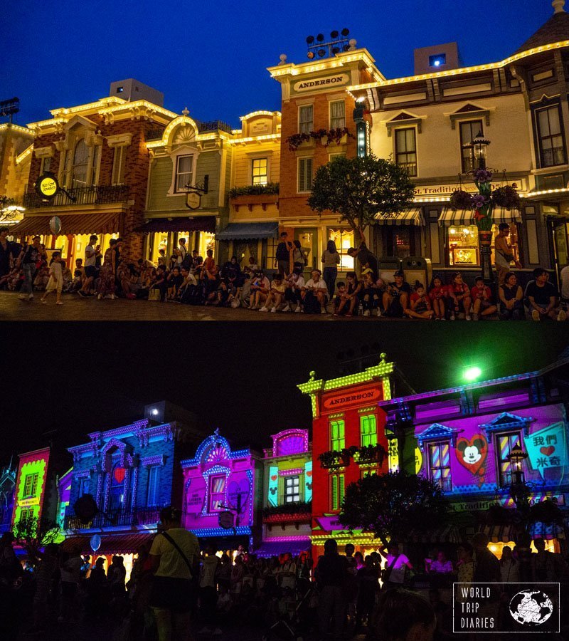 Since Sleeping Beauty's castle was closed, the projection show was on Main Street USA. It's a short projection (around 10 minutes) and it's pretty cute!