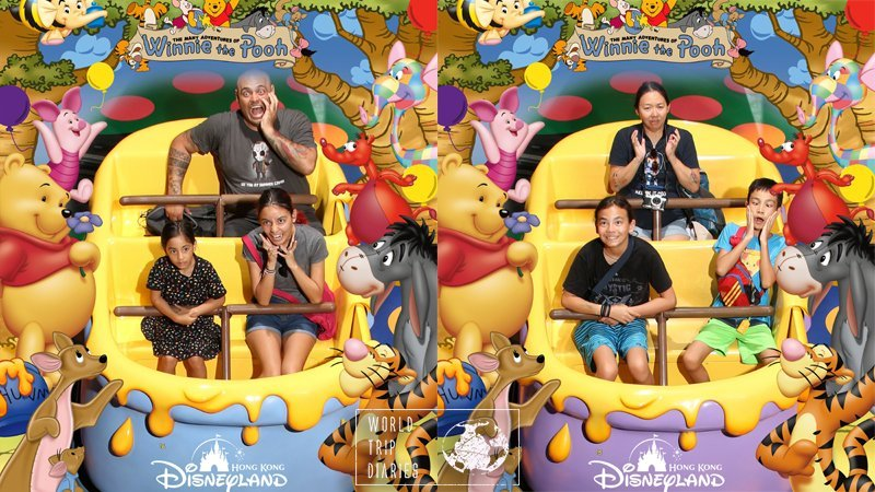 There are only 2 rides with photos at Disneyland Hong Kong, and one of them is... Winnie the Pooh ride. Well, enjoy it!
