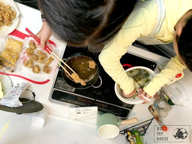 While one kid fried the chicken, the other was dissolving the miso onto the soup stock. Great new learnings for one day!