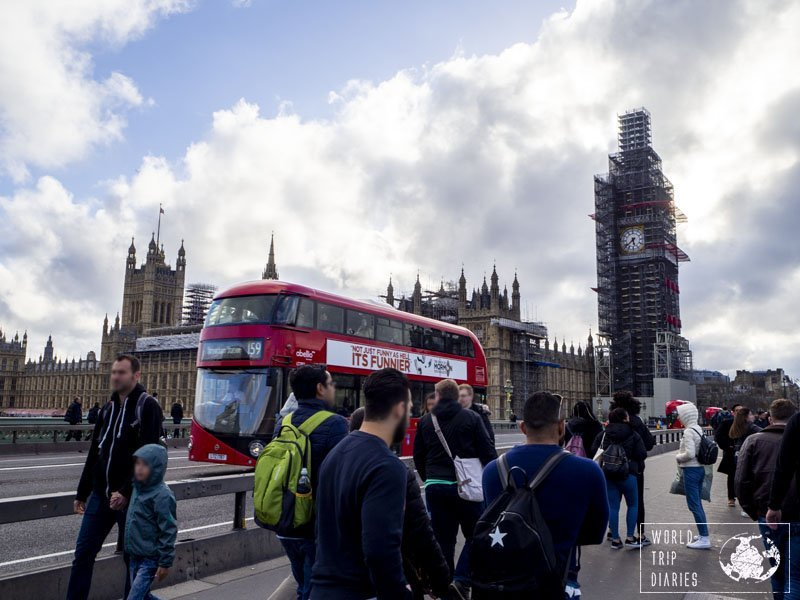 The red-double-decker buses in London, in front of the Big Ben (under refurbishment). We really enjoyed the buses - it was a whole attraction in itself for the kids.