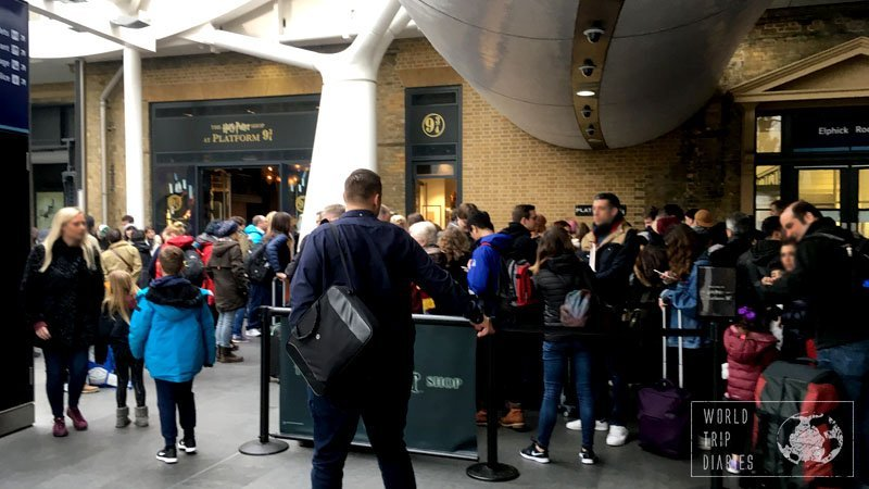 The line for the photo entering the wall at Platform 9 3/4 (Kings Cross Station, London) - super crowded. The line can cake up to 2 hours, so think carefully if you really want it.