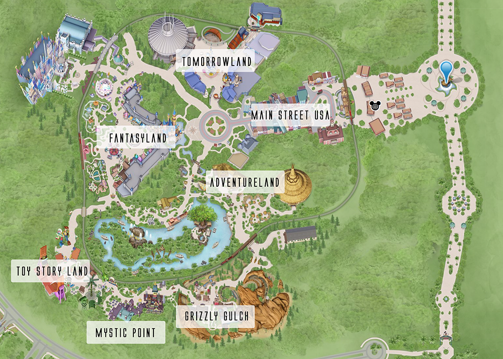 A map of Hong Kong Disneyland and its areas. It's one of the smallest Disney parks in the world, so it's pretty easy to go from one part to the other. Click for more info.
