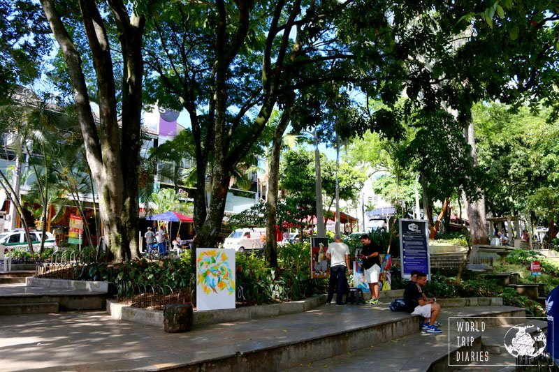 The square of El Poblado, Medellín, Colombia. It's full of trees and a few painters selling and painting their art right there. It's pretty neat! Click for more!