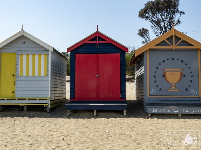 3 of the 82 bathing boxes of Brighton Beach, Melbourne. You can't enter, as they're privately owned, but you may be lucky and find the owner there. If you ask nicely...