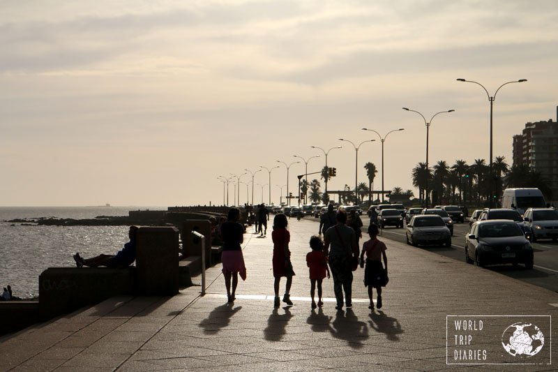 Our family walking at La Rambla, in Montevideo. It's THE thing you must see in Montevideo, besides Ciudad Vieja, of course.