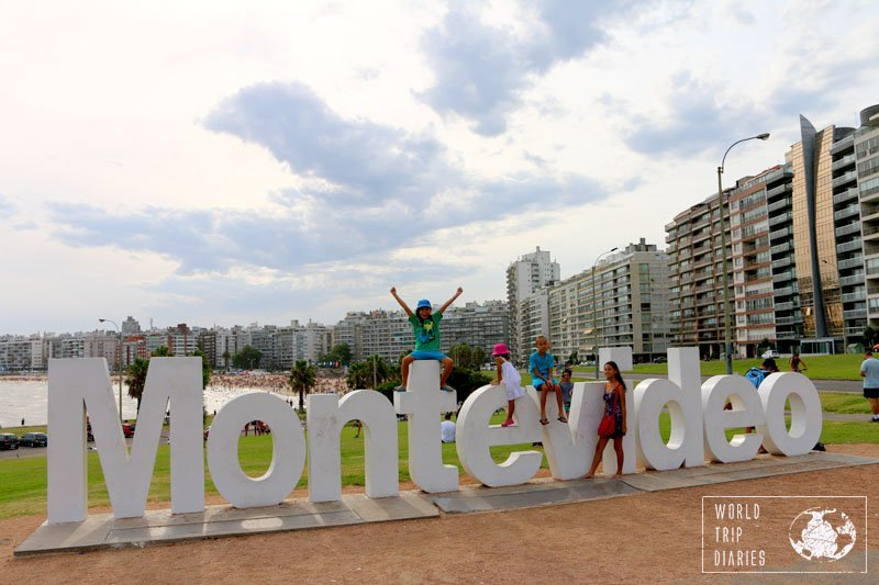Montevideo sign at Los Pocitos Beach. Well, we did it!