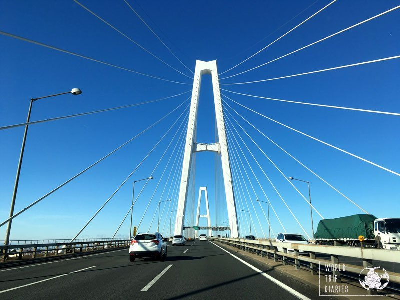 A bridge in Nagoya, Japan. There are many bridges in Japan and they' give great views over the bays and the seas.