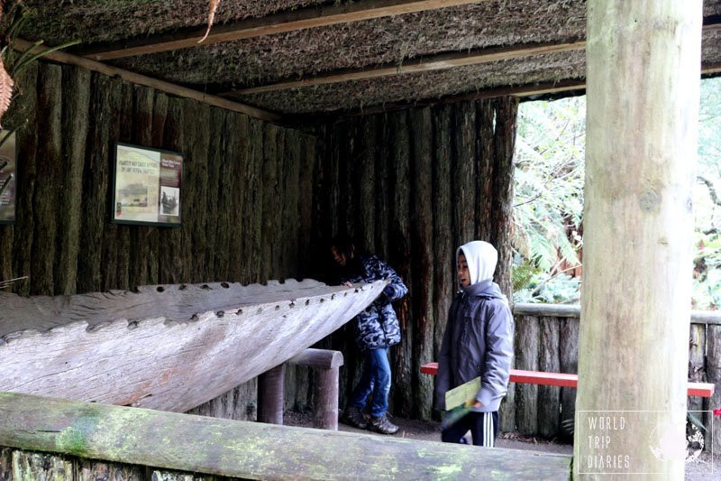 The boys inspecting a waka - Maori wooden war canoe, at The Buried Village of Te Wairoa (Rotorua, NZ). They have a good collection of artefacts that were buried by the Tarawera explosion.
