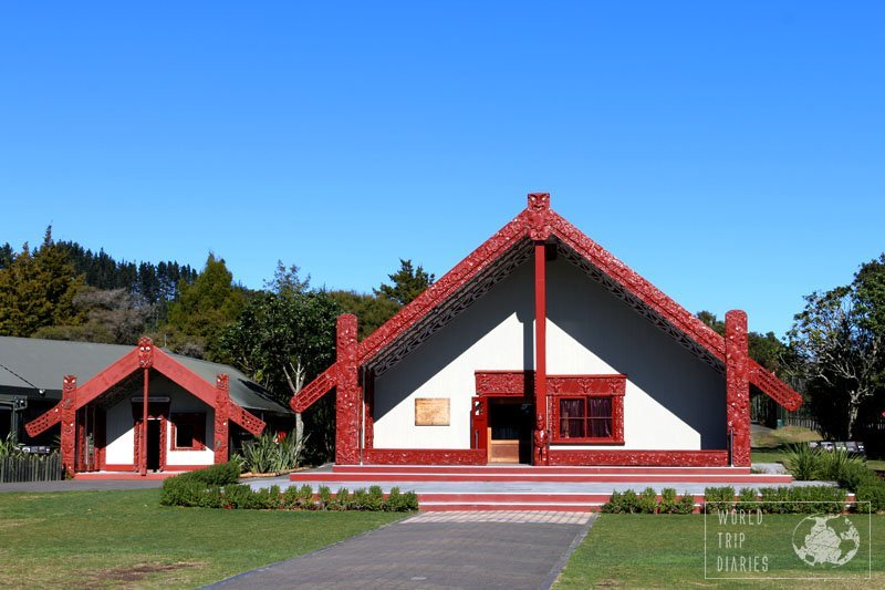 The Maori meeting and school houses, in Te Puia, Rotorua (NZ). They're highly intricate and all the carvings tell a story.