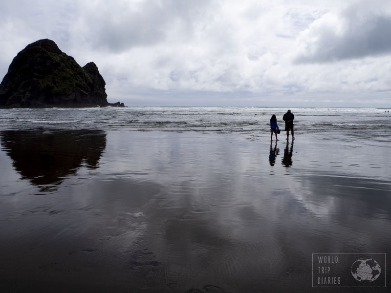 The unique black sand and the surf waves of Piha Beach, in Auckland, NZ, makes it one of the prettiest beaches in New Zealand!