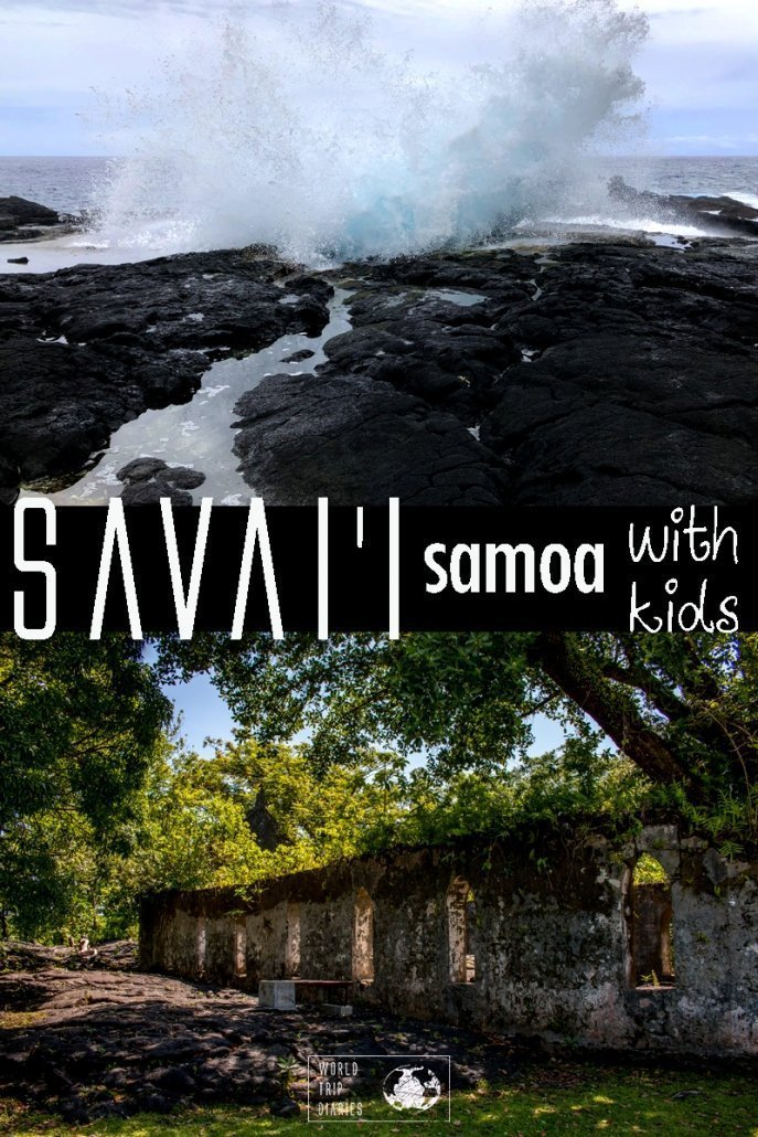 Savai'i is one of the many Samoan islands. It's full of natural wonders, like Alofaaga Blowhole (top image) and the Saleaula Lava Fields (bottom image). It's amazing for family trips - find out more! #familytravel #samoa #pacificislands