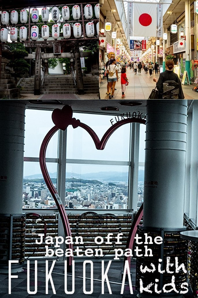 This is an image for Pinterest. To save it to save this article about Fukuoka, Japan, with kids, for later!