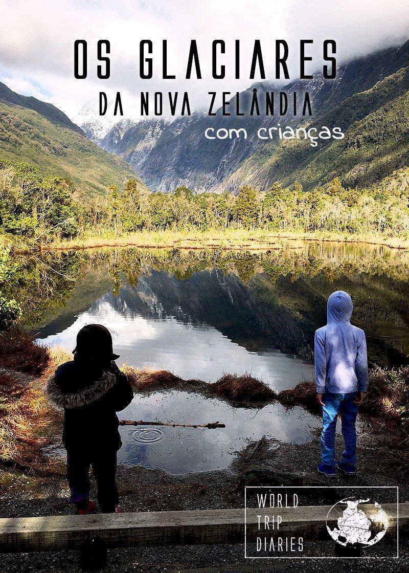 A gente levou as crianças para conhecerem os glaciares da Nova Zelândia: Fox e Franz Josef. Fomos no inverno e foi demais! Clique para ler mais!