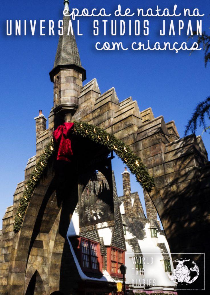 Natal na Universal Studios Japão, edição de inverno. É possível aproveitar um dia no parque com crianças, mesmo no inverno!