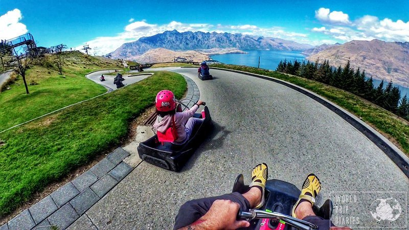The Luge is one of the best family activities in Queenstown. In the photo, you can see C (6) and dad on the track.
