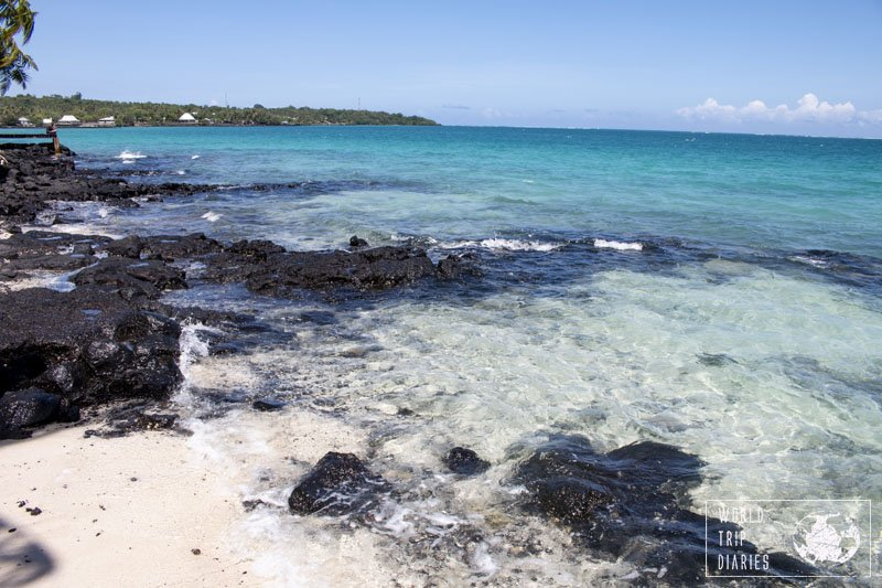 The crystal clear waters of the beach in Va'i Moana Beachside Lodge. There were rocks and corals housing the most colorful fishes!