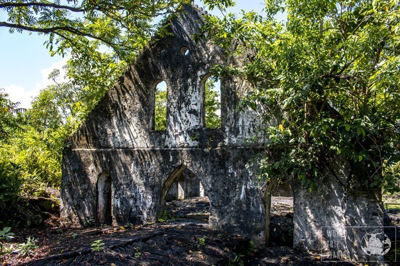 The church walls that were flooded by lava when the volcano erupted in Savaii, Samoa. The fields are open to visitors - click for more!
