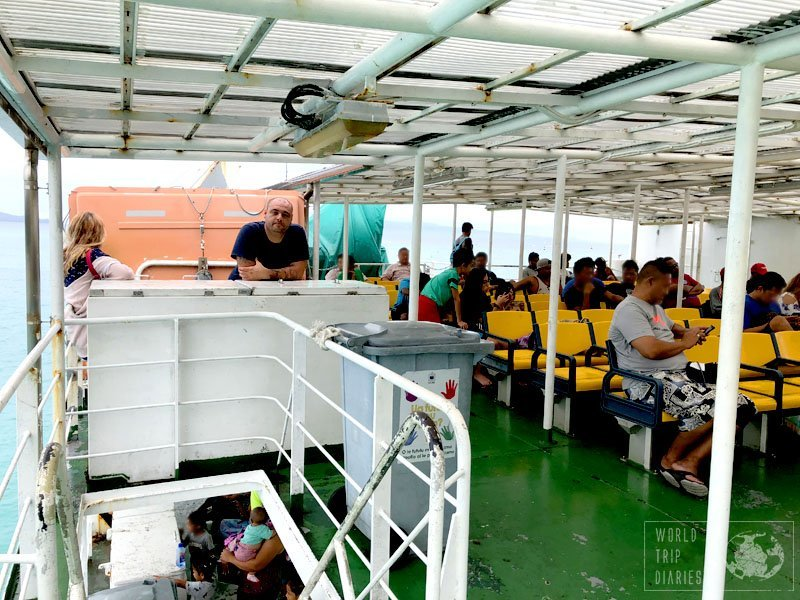 Inside Lady Samoa lll, the 'big boat' or the ferry between the 2 main islands of Western Samoa. It takes around an hour between the islands and the scenery is stunning. We're not very fond of ferries, but the view is always so worth it!