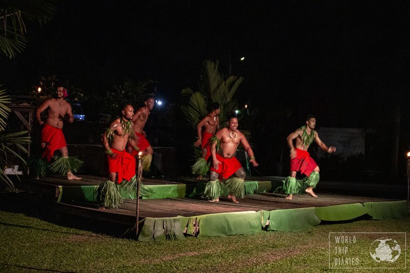 Men dancing in a cultural performance in Samoa. It's one of the things you can miss in Samoa with kids! Well, even without them!