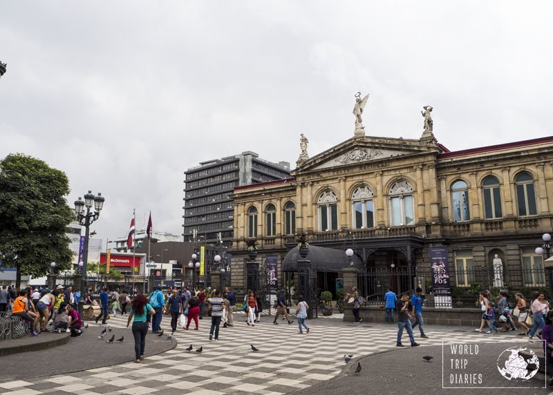 This is the National Theater of San Jose, in Costa Rica. Beside it, there's Plaza de la Cultura. There isn't much, but it's a great spot for people watching!