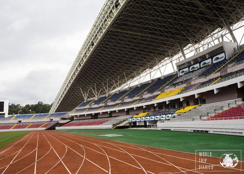 The Estadio Nacional in San Jose, Costa Rica, opened its doors to us easily. We just had to ask. It was great fun for the kids!