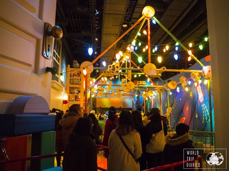 The lines in Tokyo Disneyland are pretty cool and a show in themselves. This is the Toy Story Mania line - making us feel like toys in Andy's room. Click for more!