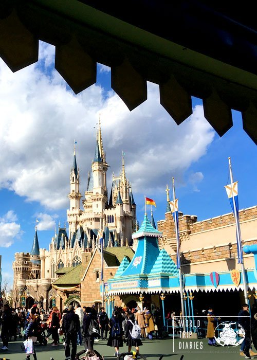 Cinderella's castle at Tokyo Disneyland - it's pretty and exactly the same as Disney World's castle.