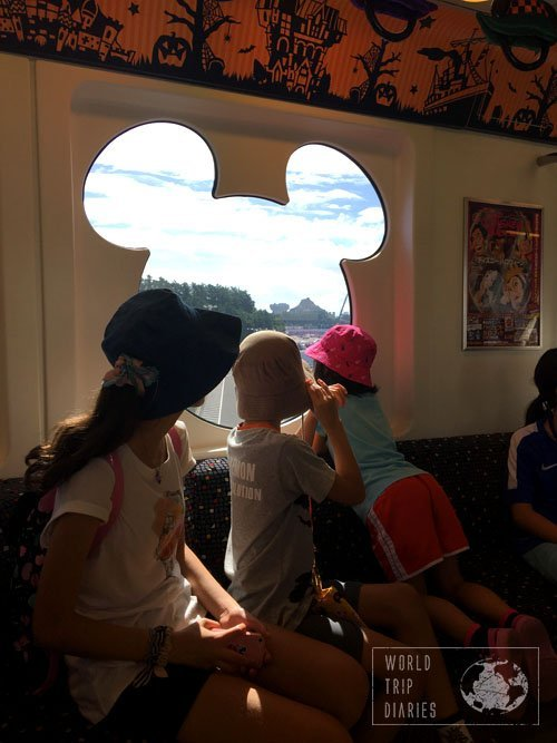 The Disney Resort Monorail, with views of Disney Sea's volcano through a Mickey shaped window. It's definitely worth a ride at least once.