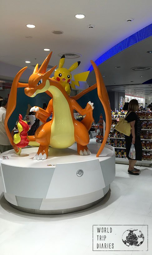 A human size Charizard and a Pikachu in Pokémon Center, Tokyo, Japan. Pokémon centers are great for the kids!