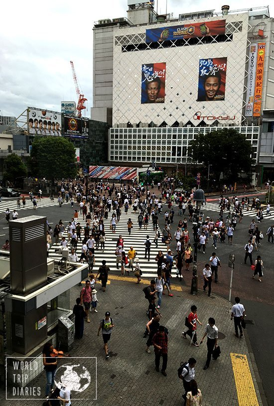 One of the busiest crossroads in the world, the Shibuya crossing, viewed from above. We sat and watched while we had coffee in a Starbucks. The amount of people there is just crazy!