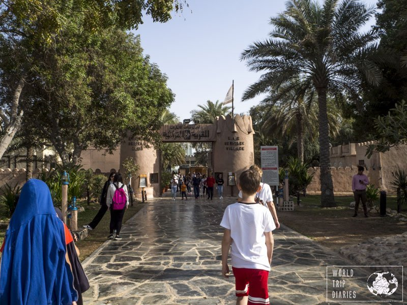 The Heritage Village is a fun place to visit with kids in Abu Dhabi. It has artisans, handicrafts, shops, food, and more!