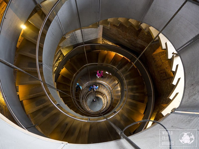The stairs of the Lighthouse, in Glasgow, Scotland, and my 4 kids climbing it down. You need to climb the over 100 stairs to get to the top and view the city from the top, but it's worth it! Click for more!