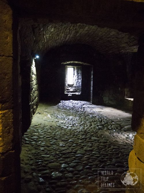 Inside Linlithgow Palace, in Scotland. Most of the castle is open to the public and it's a great maze: fun for the whole family!