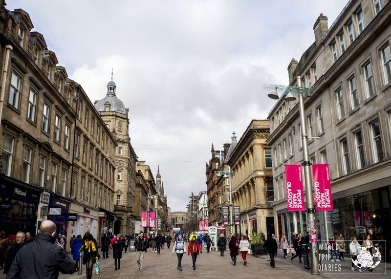 Buchanan Street, in Glasgow, Scotland. It's one beautiful street filled with stores, cafes, and it's free of cars. Perfect for little kids!