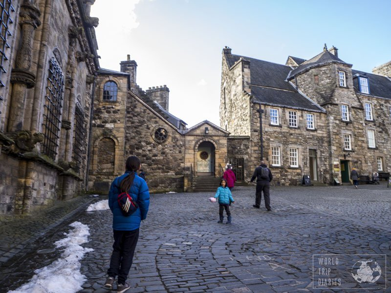 The kids and dad walking at the royal courtyard of the amazing Stirling Castle. If you have to choose one castle to visit in Scotland, make it Stirling Castle. It's so well kept that one could probably live there.