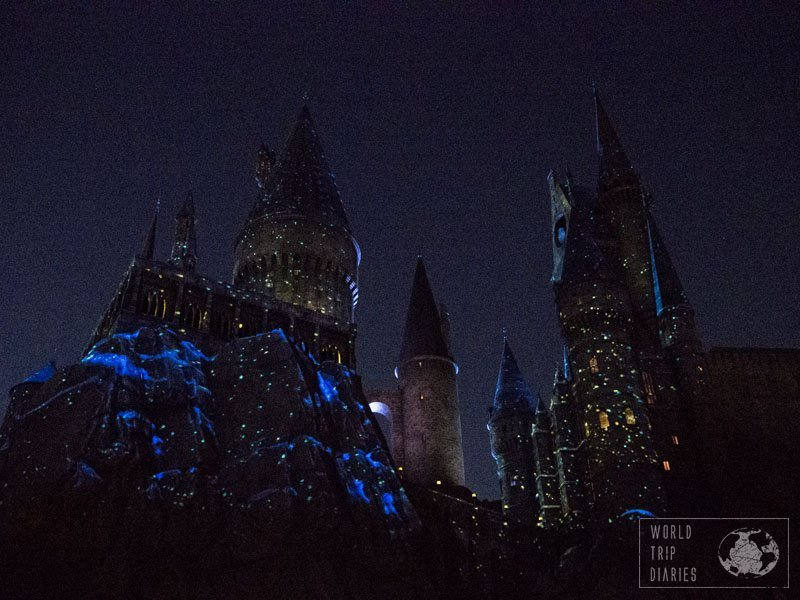 The light show on the walls of Hogwarts Castle was magic and we loved it.