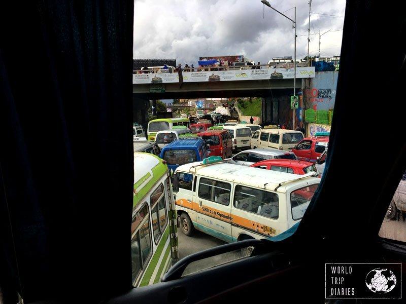Traffic in La Paz, Bolivia, South America