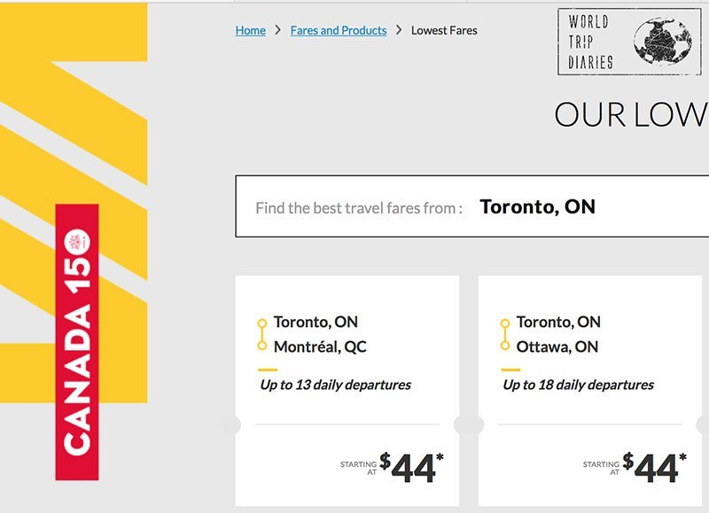 Via Rail Canada: 2 Cities at same price